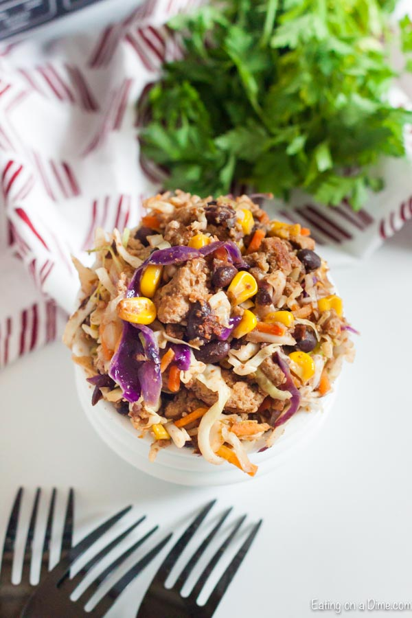 Enjoy everything you love about a traditional egg roll without any guilt when you make Egg Roll in a Bowl.Hearty meat and veggies with tons of flavor.