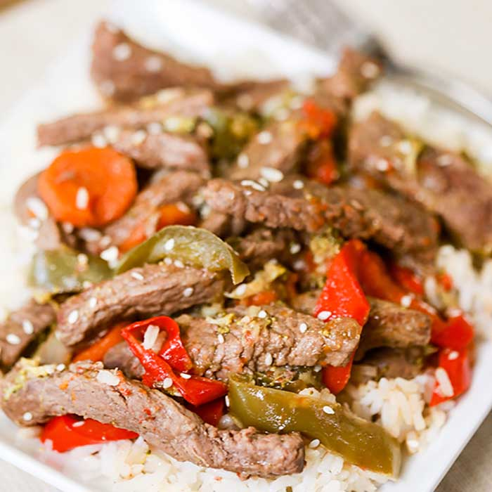 Skip take out and make this easy Beef Stir Fry Recipe instead. In just minutes, this meal with flavorful veggies and tender beef will be ready to enjoy.