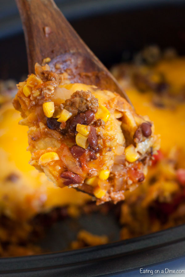 Crock Pot Mexican Casserole Recipe is the perfect meal to feed your family. Each bite is so cheesy and delicious and the entire meal is so easy to prepare.