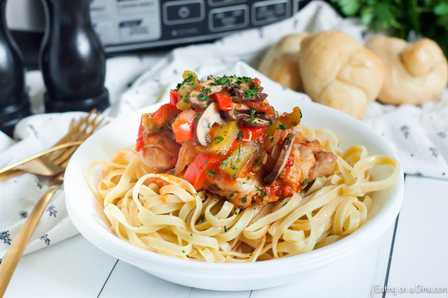 Crock Pot Chicken Cacciatore sounds fancy but it's easy to make. If you want a meal with the best chicken, mushroom and tomato sauce, try this recipe.