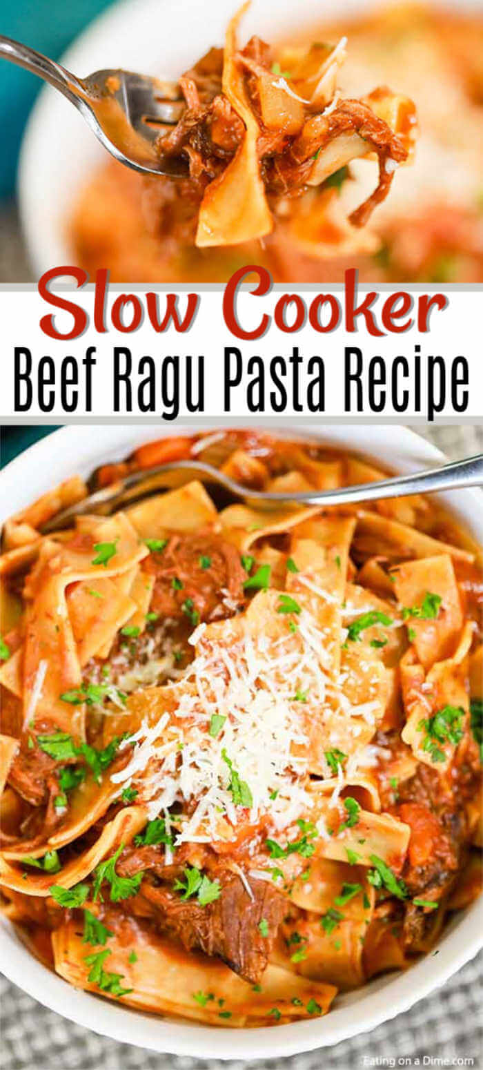 Crock Pot Beef Ragu Recipe has everything you need for a great dinner. This dish is loaded with lots of beef, tomatoes, pasta and more for the best meal.