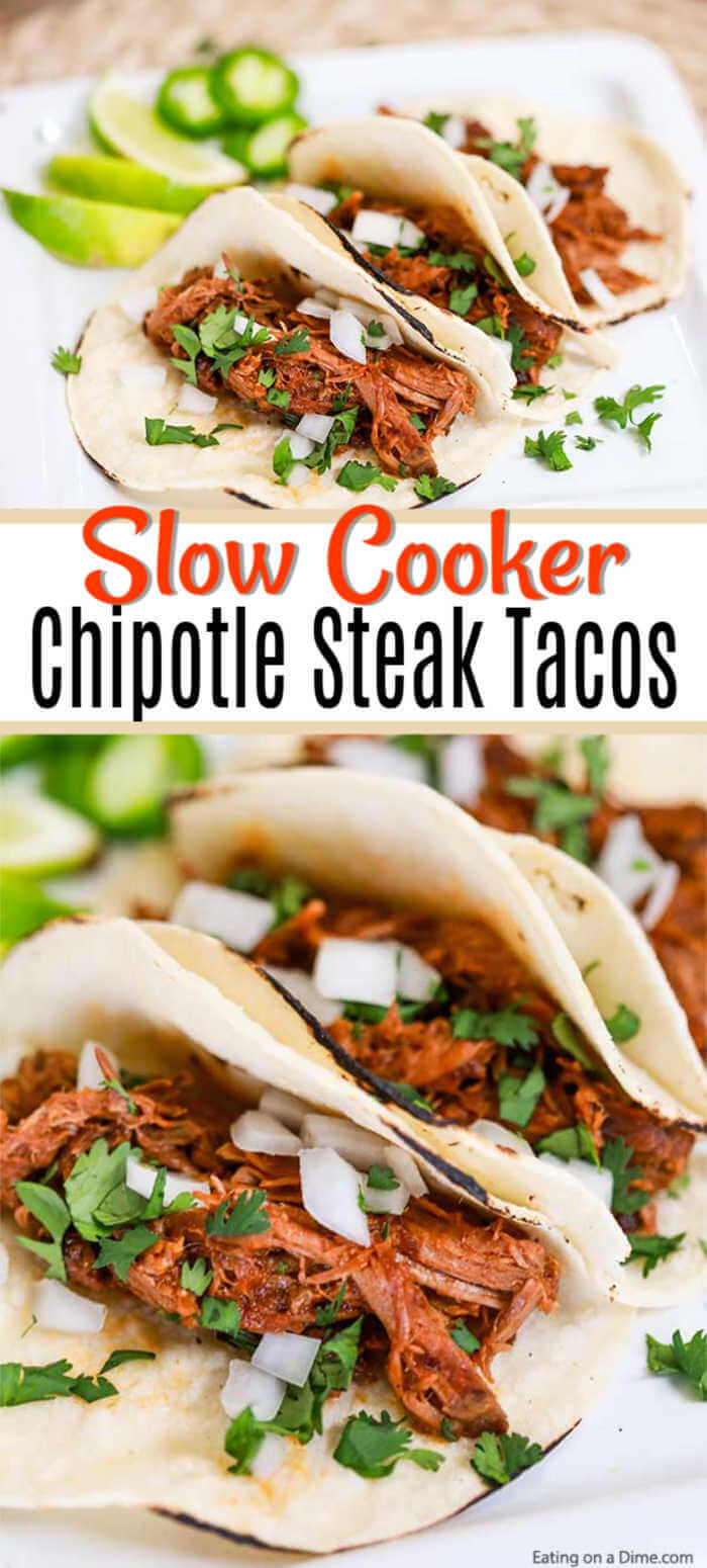 This delicious Crock Pot Chipotle BBQ Steak Tacos Recipe is so simple but takes street tacos to the next level. Try these flavorful shredded beef tacos!