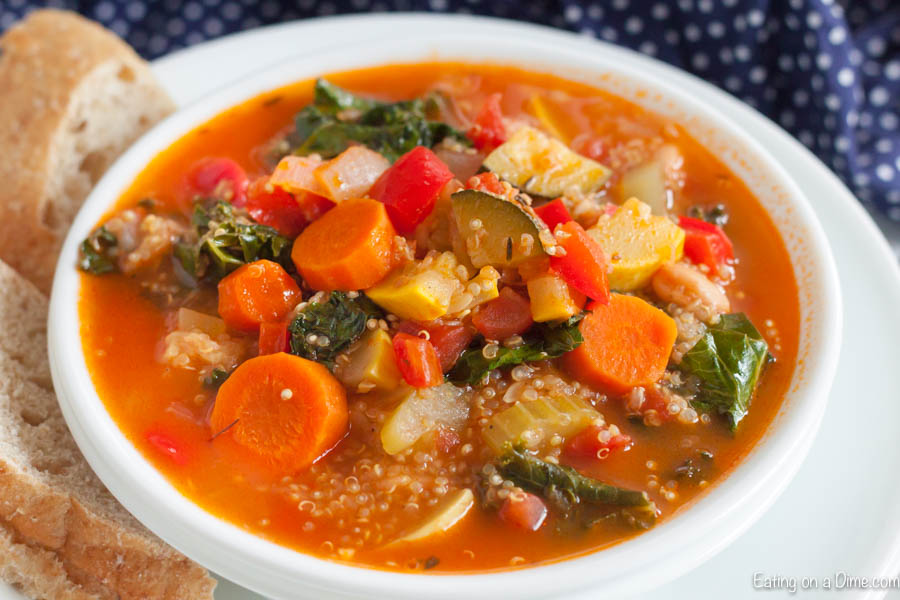 Get dinner on the table in under 5 minutes with this easy Instant Pot Quinoa Soup Recipe. Loaded with hearty vegetables and quinoa, this soup is amazing.