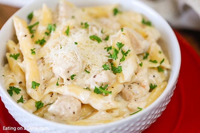Easy Chicken Penne Pasta Recipe is a one pot skillet meal perfect for dinner. Everyone will love this tasty chicken paired with a creamy sauce over pasta.