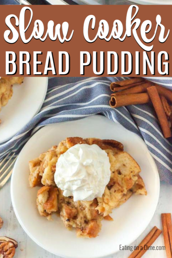 Bread pudding on a plate topped with ready whip.
