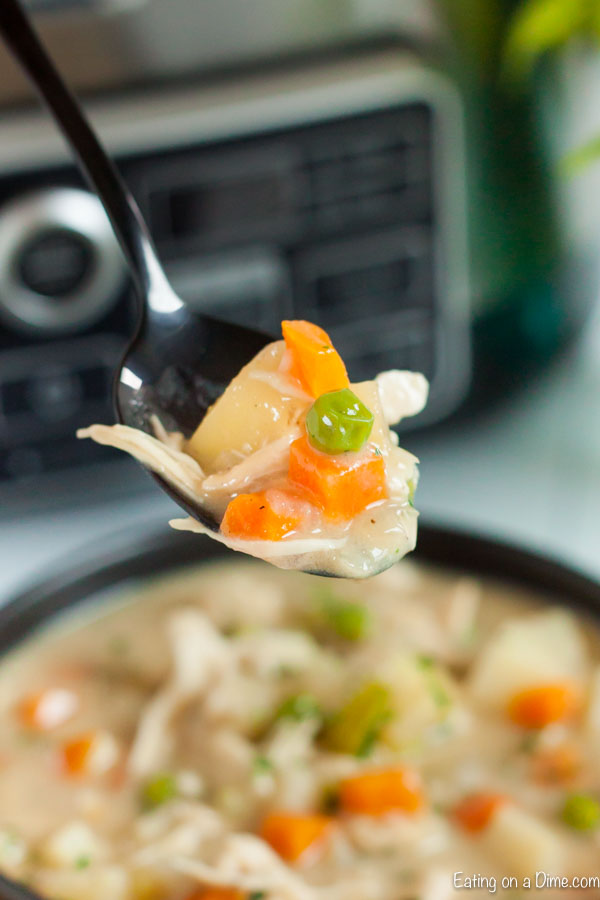 Crock Pot Chicken Pot Pie Soup Recipe is so easy in the slow cooker and creamy and delicious. Not only is this meal budget friendly but it tastes amazing!