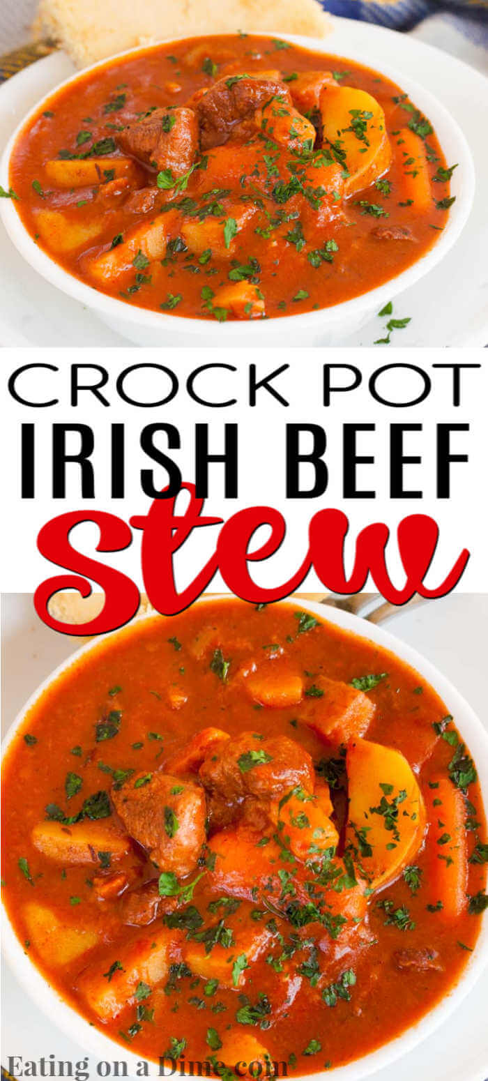 Crock Pot Irish Beef Stew Recipe is a tasty twist on classic stew with a tangy broth loaded with savory meat and vegetables. The slow cooker make it easy!