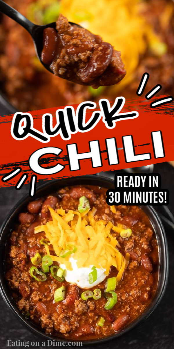 This quick chili recipe is ready in less than 30 minutes. This is the best quick stovetop and easy chili recipe. You'll love this classic easy one pot beef chili recipe. This quick and easy chili recipe is fast to make is a simple, healthy, one pot recipe that is the best and super fast to make! You'll be surprised how good this quick chili recipe easy is to make! #eatingonadime #onepotrecipes #stovetoprecipes #chilirecipes #dinnerrecipes