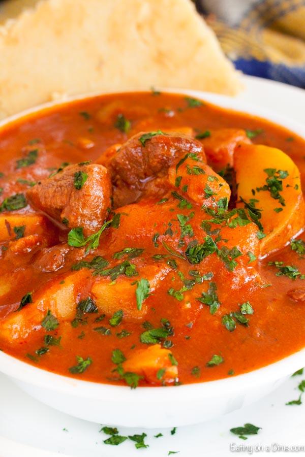 Bowl of Irish beef stew.