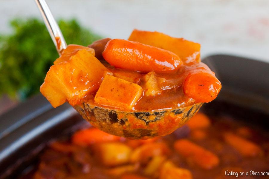 Ladle of beef stew.