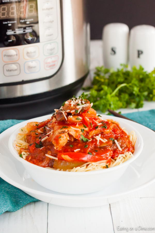 Instant Pot Chicken Cacciatore sounds fancy but it is really an easy meal to prepare. The instant pot makes it super fast and the chicken is so flavorful.