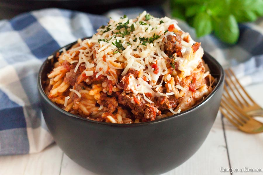 Instant pot Spaghetti Casserole can be ready in minutes for a one pot meal loaded with flavor. Your family will love this easy spaghetti casserole.