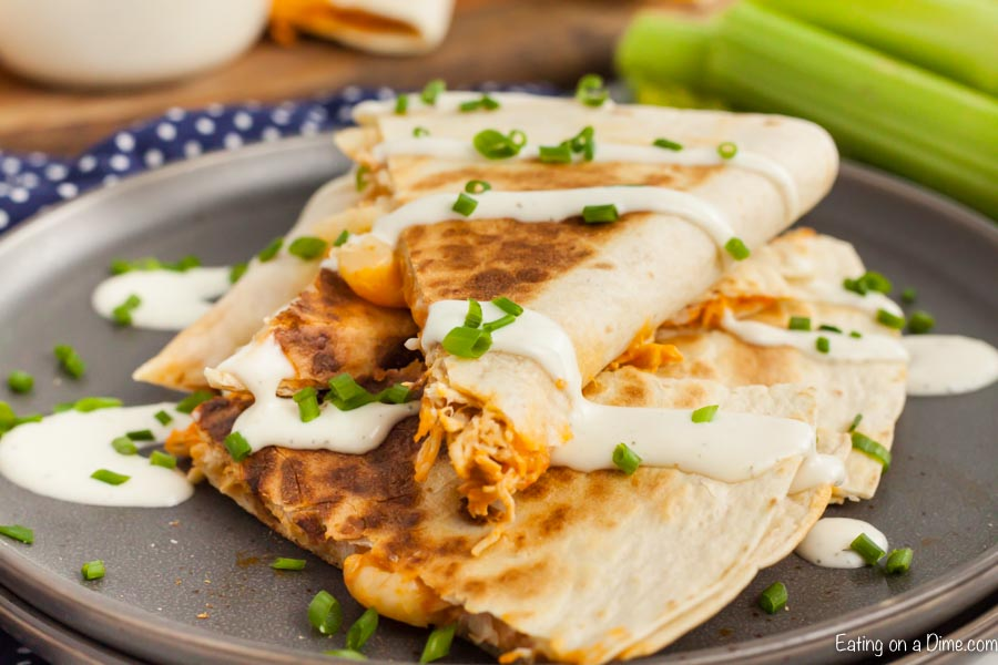 Buffalo chicken quesadilla recipe has all that you love about buffalo flavor with tons of cheese and tender chicken. Get dinner on the table in minutes.