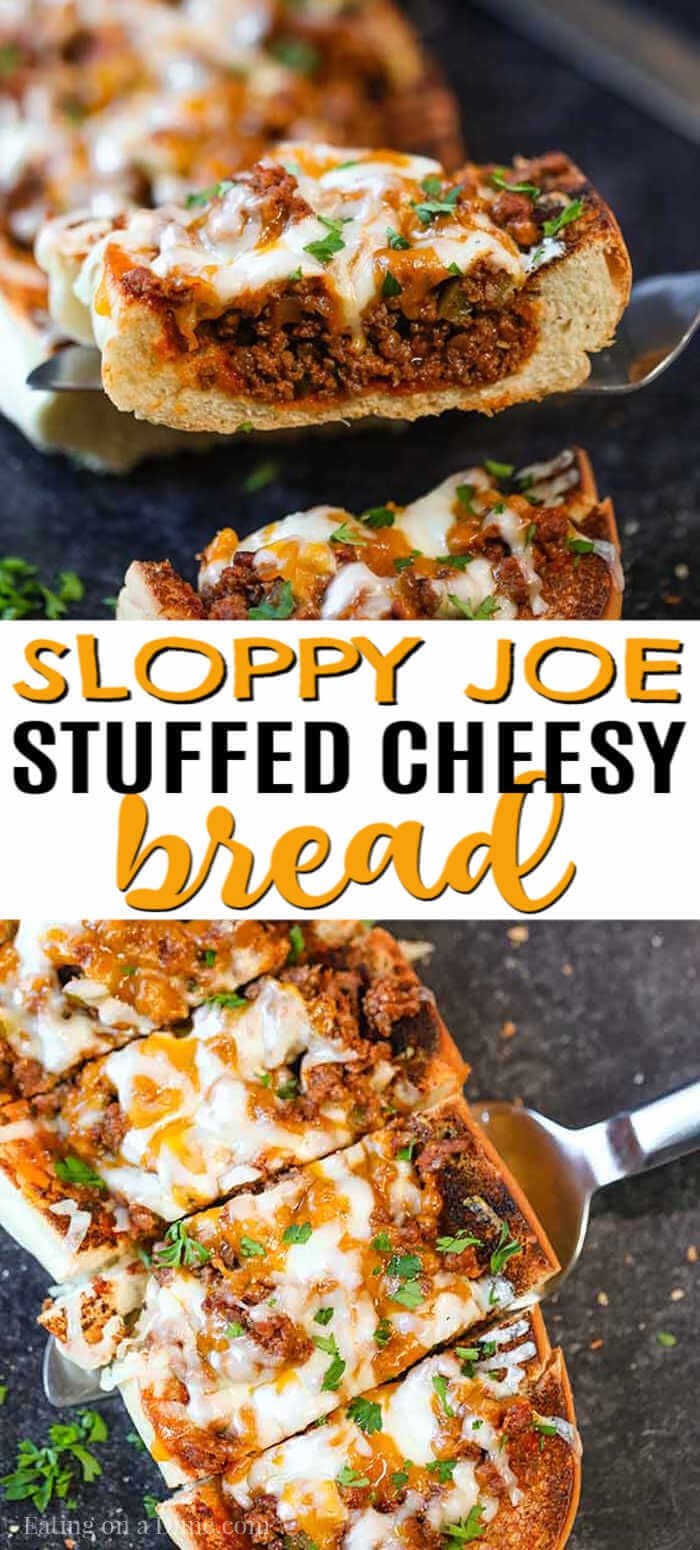 Sloppy joes stuffed french bread recipe has everything you love about sloppy joes in a cheese stuffed bread. This is the perfect party food or dinner idea.