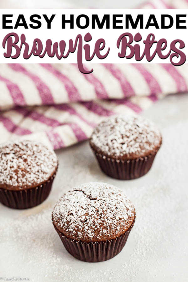 Mini Brownie Bites Recipe will be a hit with everyone! This homemade bitesize brownie recipe is easy tasty and topped with powdered sugar. Try the best brownie bites recipe! #eatingonadime #dessertrecipes #browniebites