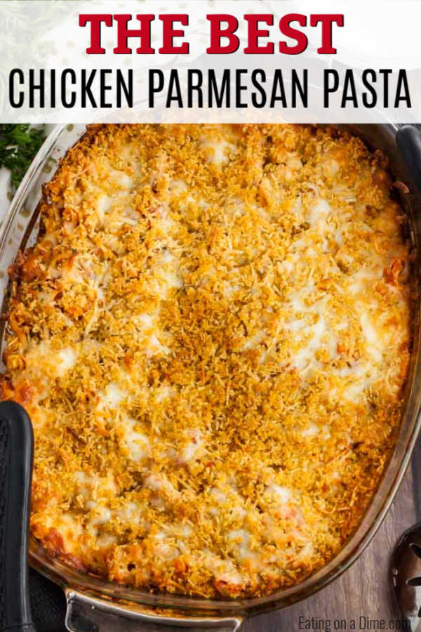 Easy Chicken Parmesan Pasta takes all the work out of traditional Chicken Parmesan and turns it into a casserole type dish. This is perfect for weeknights.