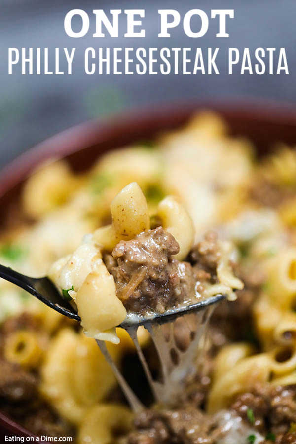 Enjoy everything you love about Philly Cheesesteak in this delicious Philly cheesesteak pasta recipe. This skillet recipe comes together in minutes.
