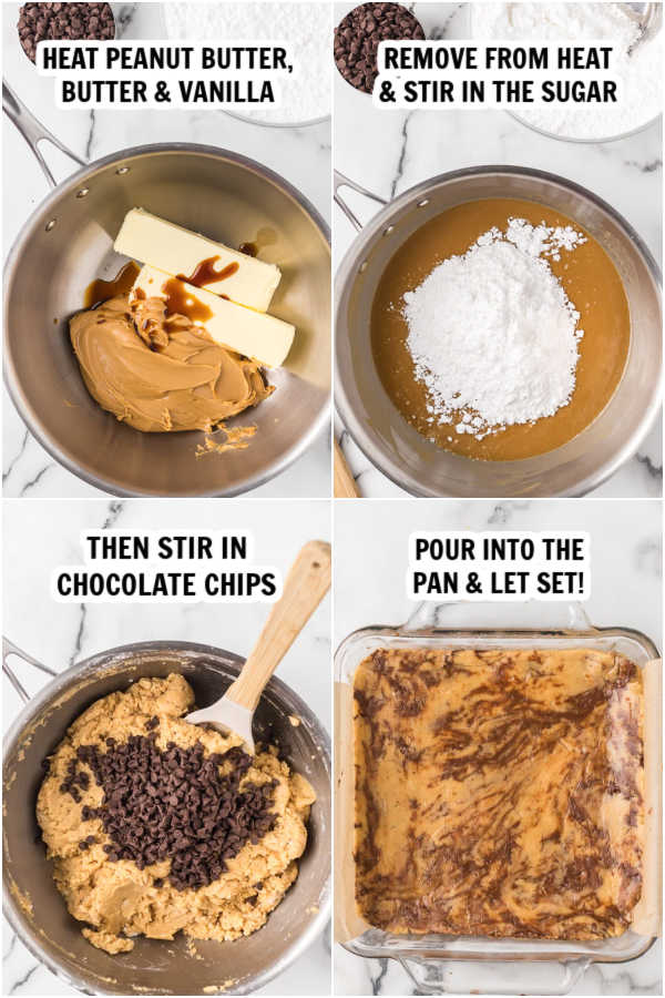 Photos showing how to make this peanut butter chocolate chip fudge