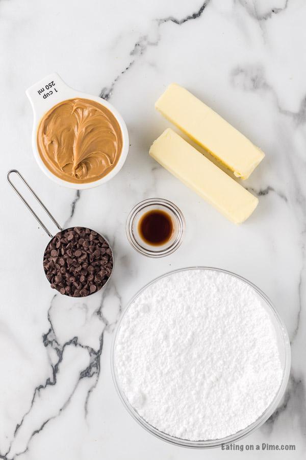 Ingredients to make peanut butter chocolate chip fudge