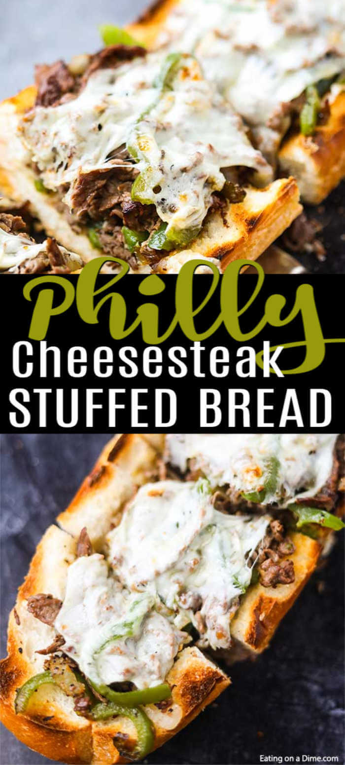 This amazing Philly Cheesesteak Stuffed French Bread Recipe is so cheesy and stuffed with tons of flavor. Plus, this delicious meal takes just minutes.