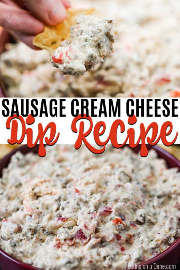Cream Cheese Sausage Dip Recipe has only 3 ingredients and comes together in minutes. Creamy and hearty, this dip is the perfect party food or snack.