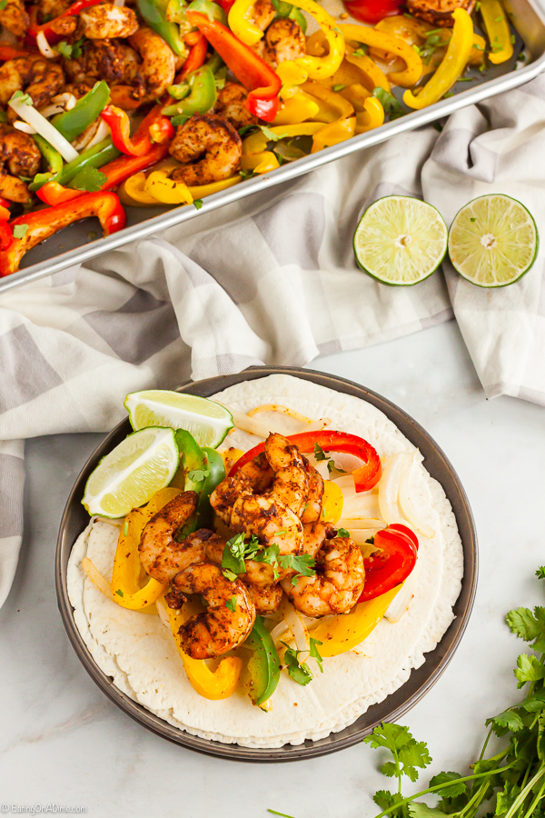 Sheet Pan Shrimp Fajitas Recipe makes dinner time so easy because everything you need is in one pan. Enjoy flavorful shrimp, veggies and the best seasoning.