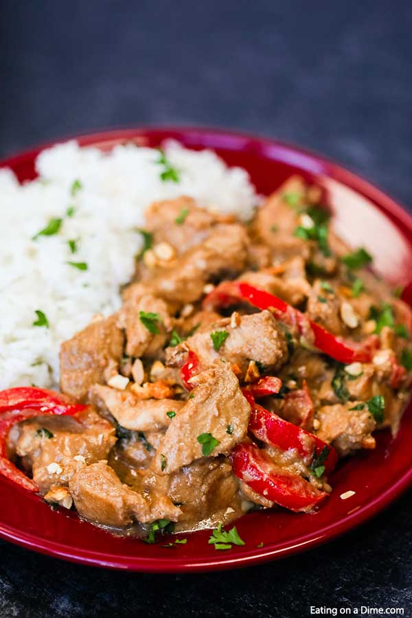 Crock pot peanut butter chicken is a delicious and easy recipe to jazz up plain chicken. Try this Thai peanut chicken recipe instead of ordering takeout.