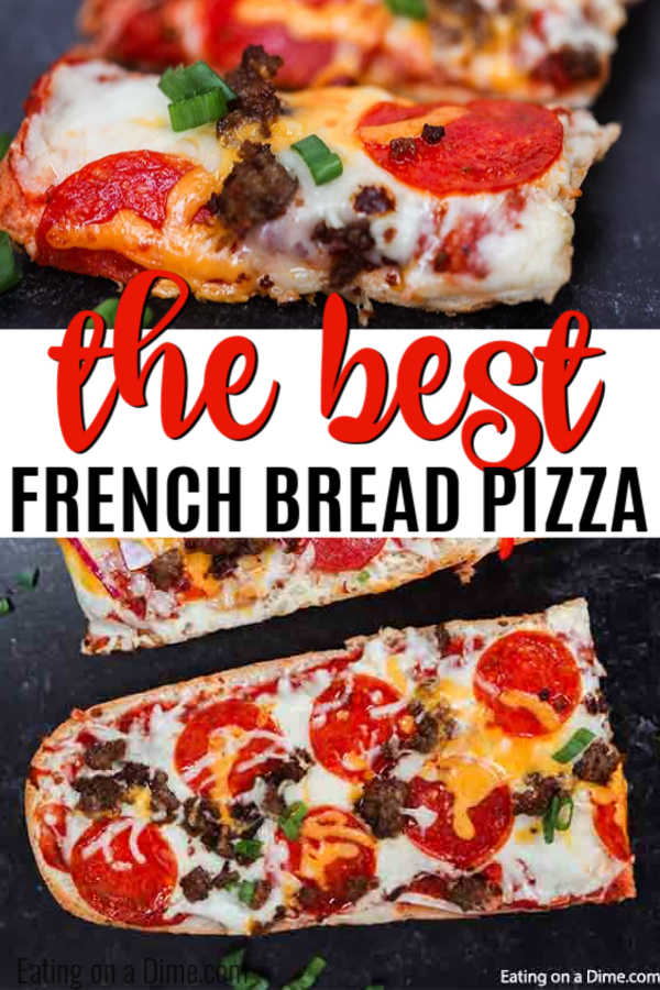 Homemade French Bread Pizza Recipe is perfect any day of the week. Throw this together in minutes for a dinner everyone will love.