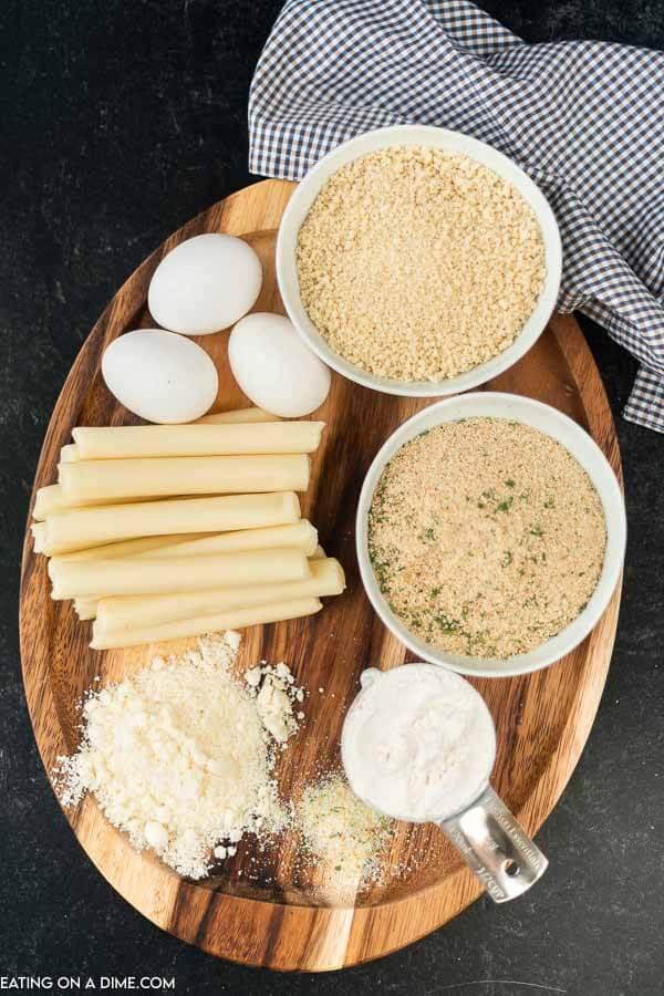 Homemade mozzarella cheese sticks ingredients