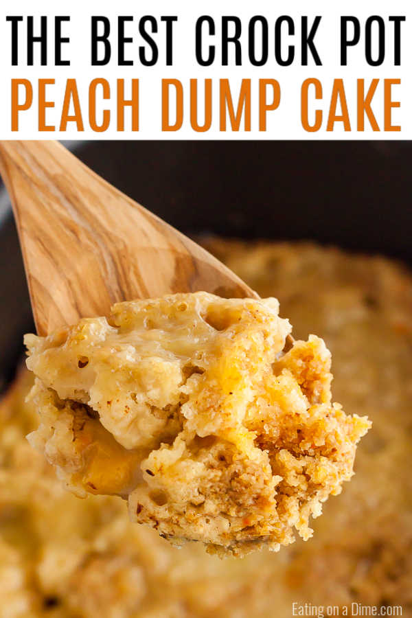 Crock pot peach dump cake is decadent and tasty for the perfect dessert without any work. With only 3 ingredients, enjoypeach dump cake recipe any day of the week!