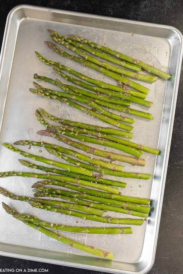 Trimmed Asparagus on a sheet pan