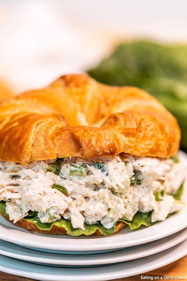 Close up image of chicken salad on a crossiant.