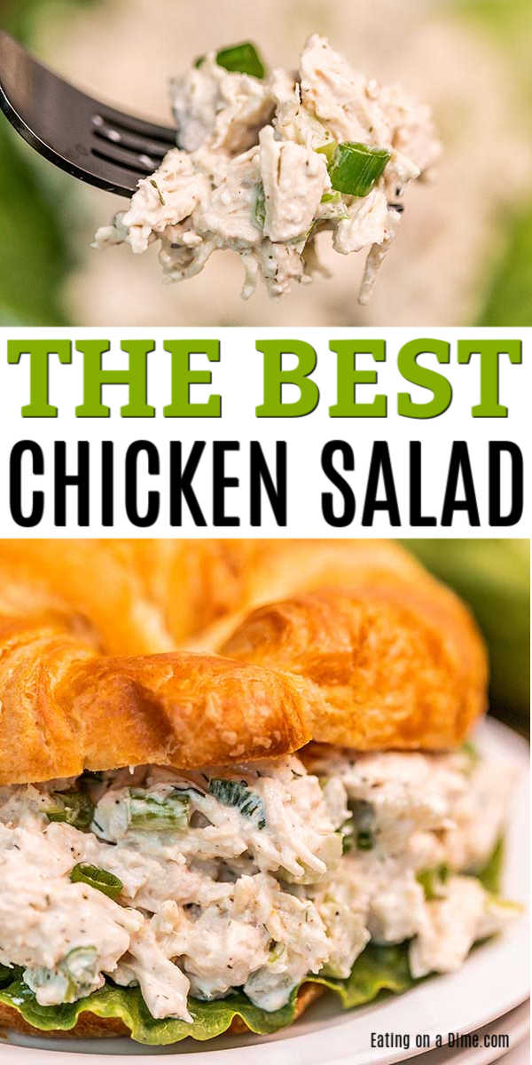 We have the best chicken salad recipe and it is simple to make! This is so creamy and delicious. Serve it over lettuce or on croissants for a great meal.
