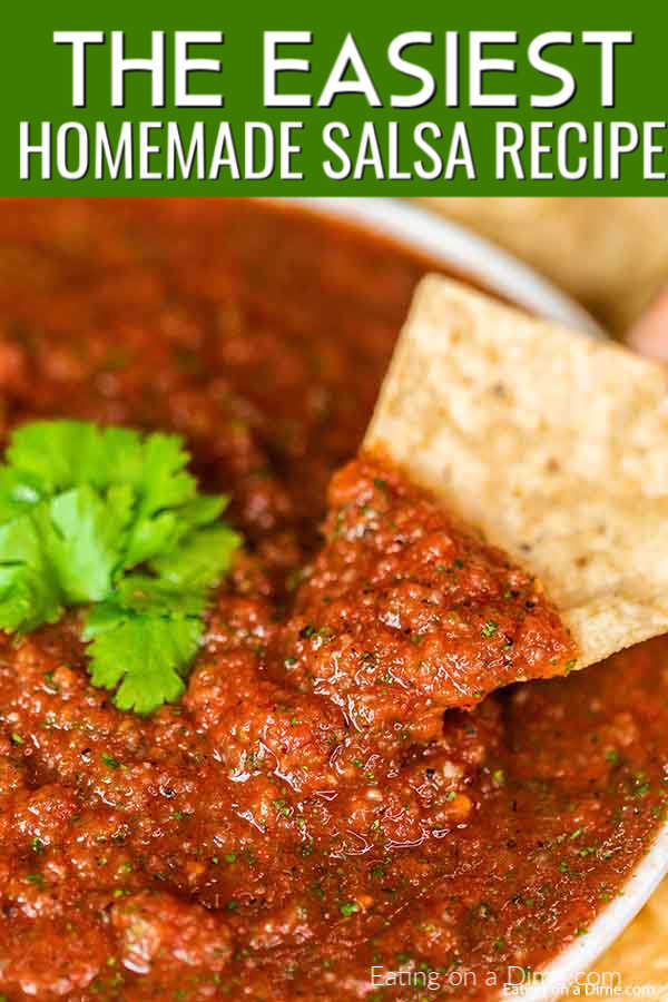 Homemade Salsa Recipe is so easy that you will not believe it. Make this in minutes and enjoy the best salsa and chips at home. Yum!