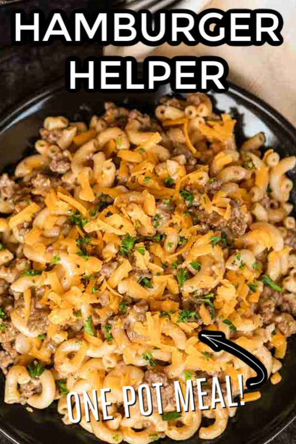 Cheeseburger hamburger helper is so easy to fix and better than anything you can buy in the store. Skip those box mixes and make this Cheeseburger hamburger helper homemade recipe. Lots of delicious beef in this hamburger helper homemade easy one pot meal make it so tasty. Your family will love this Cheeseburger hamburger helper homemade easy meal. Make this homemade easy hamburger helper today. #eatingonadime #homemadehamburgerhelper