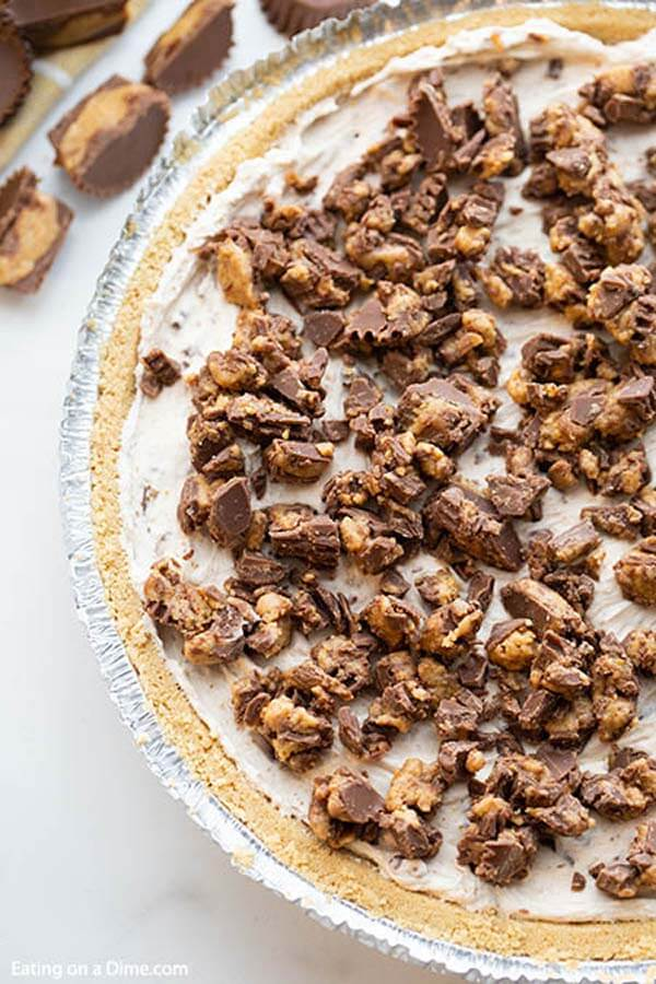 Close up image of Reese's Candy Peanut Butter Pie.