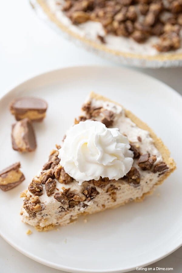 Close up image of a piece of Reese's peanut Butter pie on a white plate.