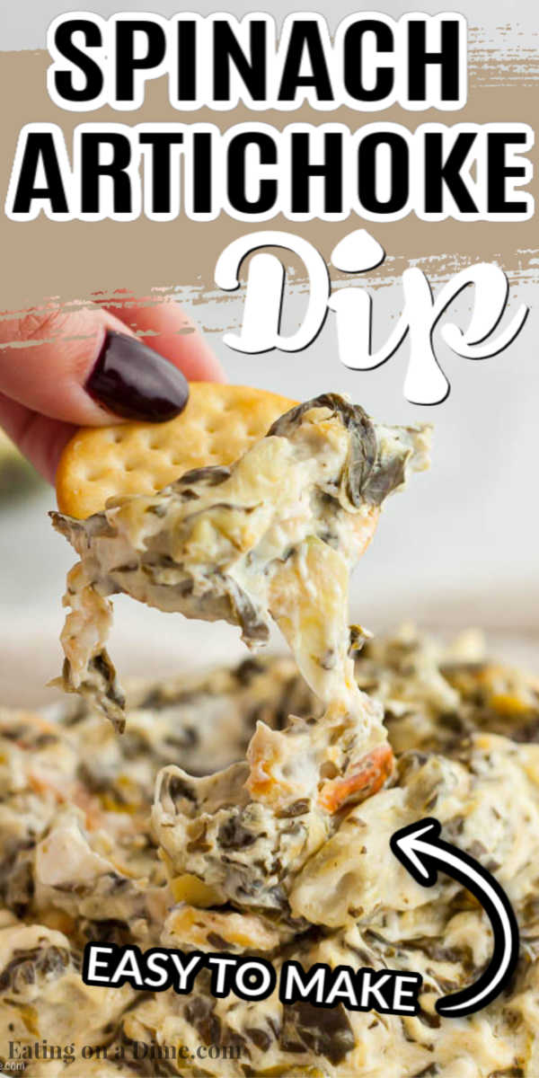 Spinach artichoke dip recipe is a classic and delicious recipe perfect for parties. This easy simple dip is so creamy and very easy to make. Try Spinach artichoke dip easy recipe for the best dip that is hot and cheesy. #eatingonadime #spinachartichokedipeasybaked
