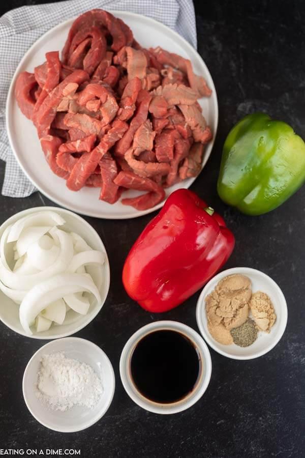 Ingredients to make this crock pot pepper steak