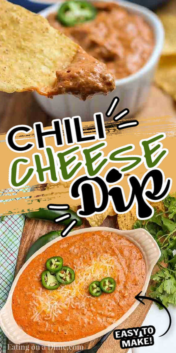 Chili cheese dip recipe is the perfect appetizer when you are craving comfort food. It is the best dip and so inexpensive to make. Chili cheese dip with cream cheese is easy and delicious served warm out of the oven. Try this homemade hot chili cheese dip with no beans. #eatingonadime #chilicheesedip #creamcheese #chilicheesedipeasy