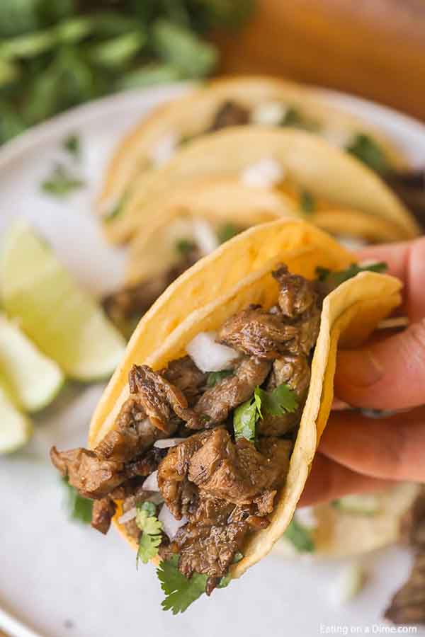 A hand holding a street taco topped with white onions and cilantro.