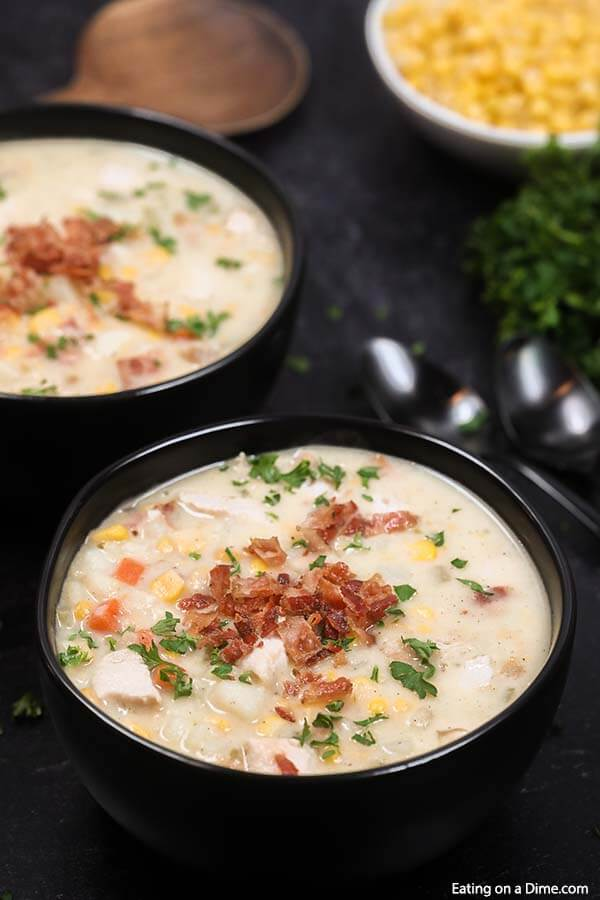 Enjoy delicious Crock pot chicken corn chowder recipe with hardly any work. Come home to the best comfort food when you make chicken corn chowder! This healthy slow cooker recipe is easy, cheesy and the best soup. Learn how to make homemade Crock pot chicken corn chowder that is so creamy. #eatingonadime #chickenandcornchowder #souprecipes #soupcrockpot #CrockPotEasy #Crockpotslowcooker #souphealthy #crockpot #chickenandcornchowdercrockpot