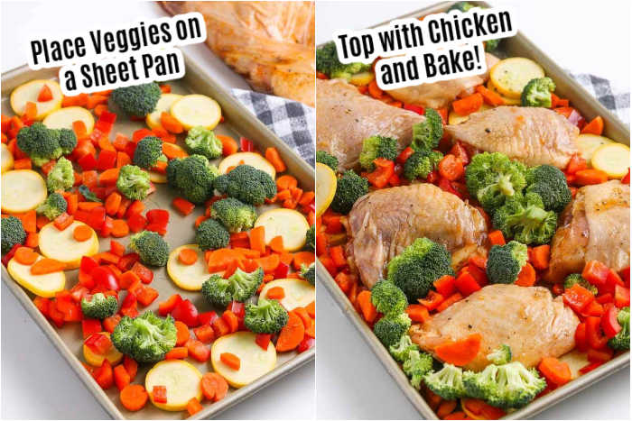 Make this easy sheet pan chicken thigh dinner for the best meal with little cleanup and only one pan. Everything you need for dinner is on the baking sheet. Enjoy bone in thighs and vegetables for a quick and easy meal. Learn how to make sheet pan chicken thighs and veggies. Try sheet pan chicken thighs and vegetables for a simple and delicious dinner. #eatingonadime #sheetpanchickethighs #recipes #sheetpanchickenthighsbonein #andveggies #andbroccoli