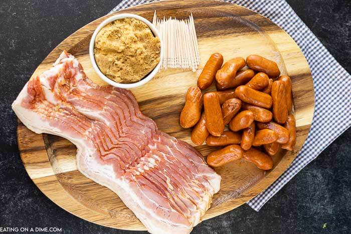 Close up image of ingredients to make bacon wrapped lil smokies