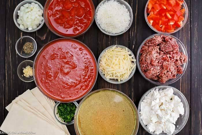 Ingredients to make Crock Pot Lasagna Soup