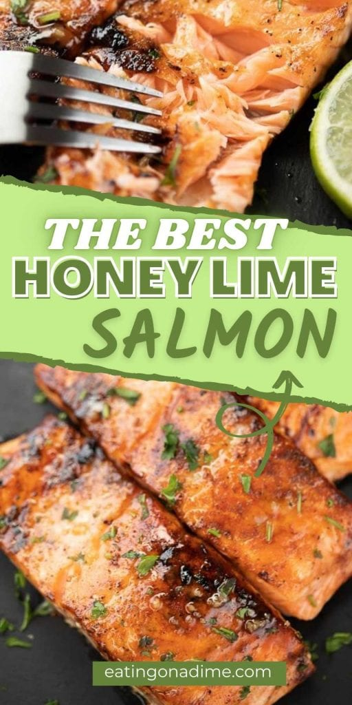 Try this easy honey glazed salmon recipe is one of my favorite salmon dinner ideas! It is delicious with the tanginess of lime added into the honey and is a delicious pan seared and easy salmon recipe. This quick and simple salmon recipe is the best! You will love this honey lime salmon recipe.  #eatingonadime #salmonrecipes #seafoodrecipes #fishrecipes