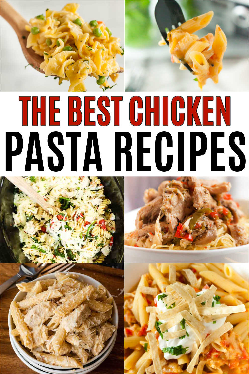 Serve your family a tasty dinner even during busy weeknights when you try these chicken and pasta recipes. Find quick and easy recipe options.  There are tons of options to choose from with these chicken pasta recipes: creamy, tomato, diary free and healthy options too!  You will love these easy simple chicken and pasta recipes! #eatingonadime #chickenrecipes #pastarecipes #dinnerrecipes