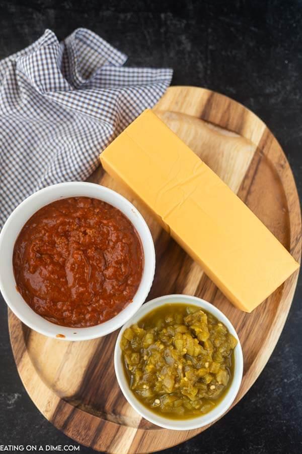 ingredients for chili cheese dip- velveeta cheese, chili, green chilies
