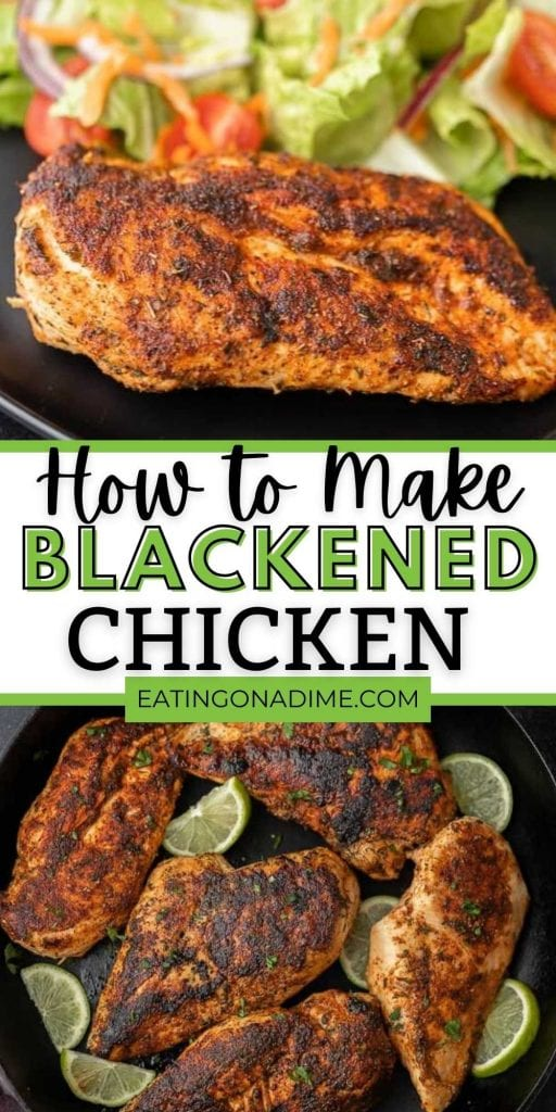 This is the best blackened chicken recipe.This quick and easy blackened chicken recipe is ready in 15 minutes making baked blackened chicken a quick dinner. Learn how to make blackened chicken with only 3 ingredients.  You will love this easy skillet recipe! #eatingonadime #chickenrecipes #blackenedrecipes
