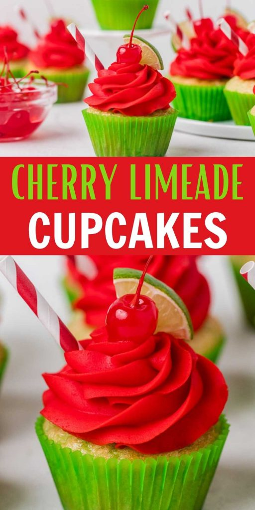 This Cherry Limeade Cupcakes recipe is easy to make and delicious too. You are going to love these jello poke cake cupcakes. You will love these easy to make Cherry Limeade Cupcakes. #eatingonadime #cupcakerecipes #dessertrecipes #easydesserts